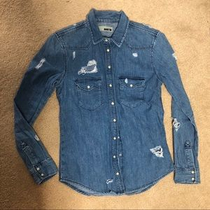 TOP SHOP JEAN BUTTON UP